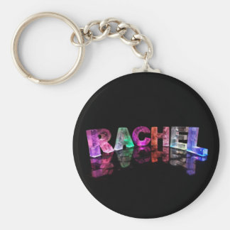 The Name Rachel in 3D Lights Photograph Keychain