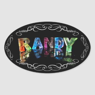The Name Randy in 3D Lights (Photograph) Oval Sticker