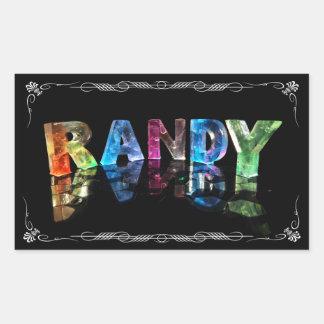 The Name Randy in 3D Lights (Photograph) Rectangular Sticker