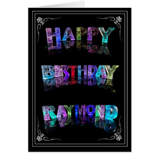 The Name Raymond in 3D Lights (Photograph) Card