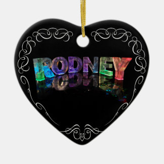 The Name Rodney in 3D Lights (Photograph) Double-Sided Heart Ceramic Christmas Ornament