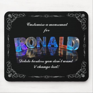 The Name Ronald in 3D Lights (Photograph) Mouse Pad