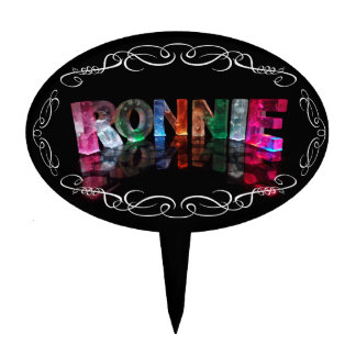 The Name Ronnie in 3D Lights (Photograph) Cake Pick