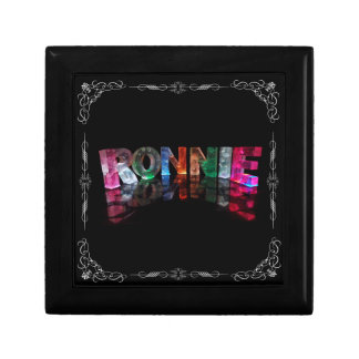 The Name Ronnie in 3D Lights (Photograph) Trinket Boxes