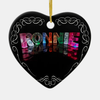 The Name Ronnie in 3D Lights (Photograph) Christmas Tree Ornament