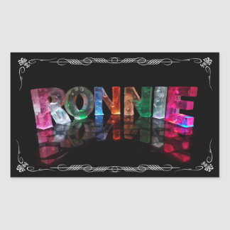 The Name Ronnie in 3D Lights (Photograph) Rectangular Stickers