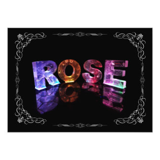 The Name Rose in 3D Lights (Photograph) Photo Print