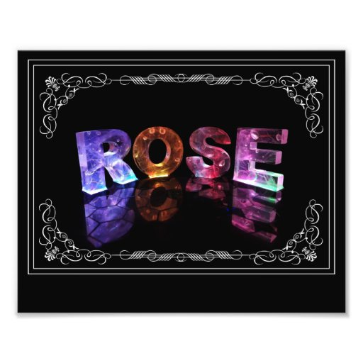 The Name Rose in 3D Lights (Photograph)