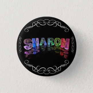 The Name Sharon -  Name in Lights (Photograph) Pinback Button