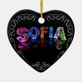 The Name Sofia -  Name in Lights (Photograph) Ceramic Ornament