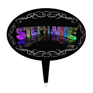 The Name Stephanie -  Name in Lights (Photograph) Cake Topper