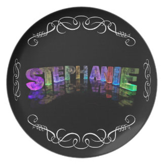 The Name Stephanie -  Name in Lights (Photograph) Melamine Plate