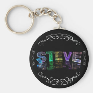 The Name Steve -  Name in Lights (Photograph) Keychain