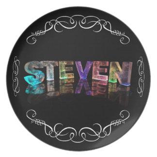 The Name Steven -  Name in Lights (Photograph) Melamine Plate