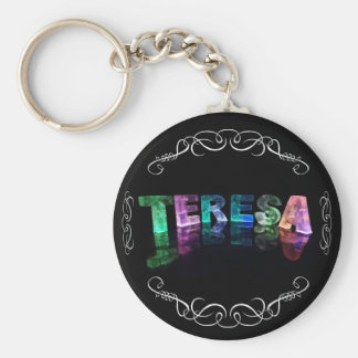The Name Teresa -  Name in Lights (Photograph) Basic Round Button Keychain