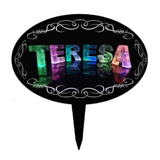 The Name Teresa -  Name in Lights (Photograph) Cake Topper