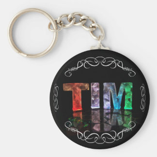 The Name Tim -  Name in Lights (Photograph) Keychain