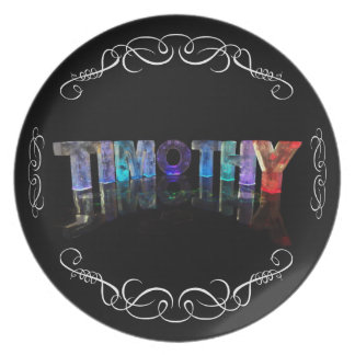 The Name Timothy -  Name in Lights (Photograph) Melamine Plate