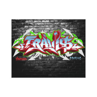 The name Travis in graffiti Canvas Print