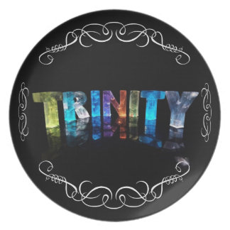 The Name Trinity -  Name in Lights (Photograph) Dinner Plate