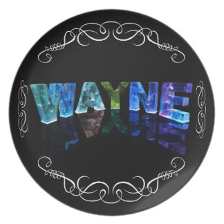 The Name Wayne -  Name in Lights (Photograph) Melamine Plate