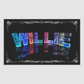 The Name Willie -  Name in Lights (Photograph) Rectangular Sticker