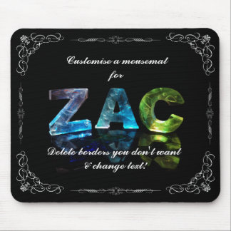 The Name Zac -  Name in Lights (Photograph) Mouse Pad