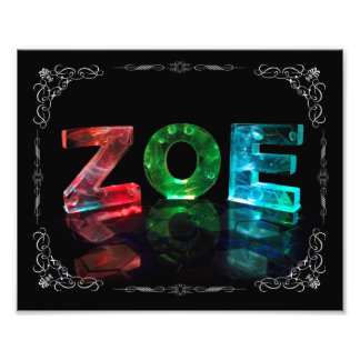 The Name Zoe -  Name in Lights (Photograph) Photo Print