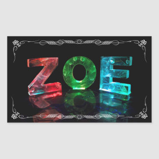 The Name Zoe -  Name in Lights (Photograph) Rectangular Sticker