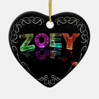 The Name Zoey -  Name in Lights (Photograph) Double-Sided Heart Ceramic Christmas Ornament