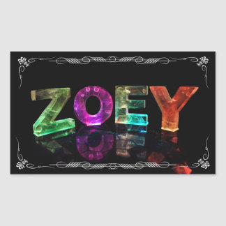 The Name Zoey -  Name in Lights (Photograph) Rectangular Sticker
