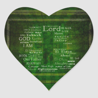 THE NAMES OF GOD listed Heart Sticker
