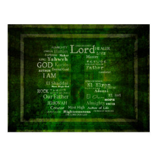 THE NAMES OF GOD listed Postcard