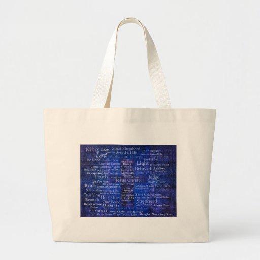 The Names of Jesus Christ blue cross art Canvas Bag