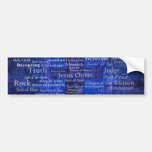 The Names of Jesus Christ blue cross art Car Bumper Sticker