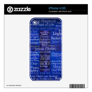 The Names of Jesus Christ blue cross art Decal For The iPhone 4S