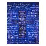 The Names of Jesus Christ blue cross art Custom Letterhead