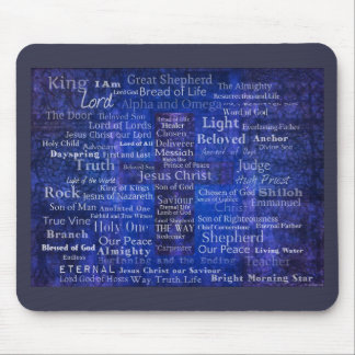 The Names of Jesus Christ blue cross art Mouse Pad