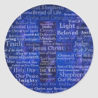 The Names of Jesus Christ blue cross art Classic Round Sticker