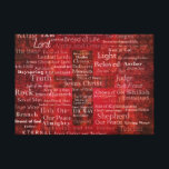 "The Names of Jesus Christ From the Bible ART Canvas Print<br><div class=""desc"">Names and titles of Jesus with stunning contemporary religious Art - Modern Christian themed painting.of Red Cross with red background featuring the many names of JESUS CHRIST.</div>"