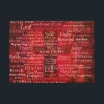 """The Names of Jesus Christ From the Bible ART Canvas Print<br><div class=""""desc"""">Names and titles of Jesus with stunning contemporary religious Art - Modern Christian themed painting.of Red Cross with red background featuring the many names of JESUS CHRIST.</div>"""