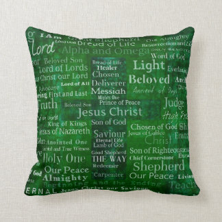 The Names of Jesus Christ From the Bible CROSS Throw Pillow