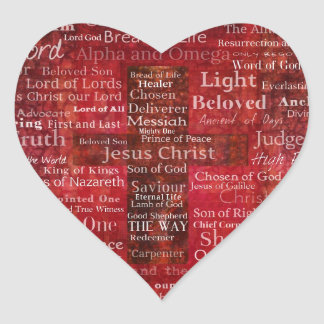 The Names of Jesus Christ From the Bible Heart Sticker