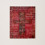 """The Names of Jesus Christ From the Bible Jigsaw Puzzle<br><div class=""""desc"""">Names and titles of Jesus with stunning contemporary religious Art - Modern Christian themed painting.of Red Cross with red background featuring the many names of JESUS CHRIST.</div>"""