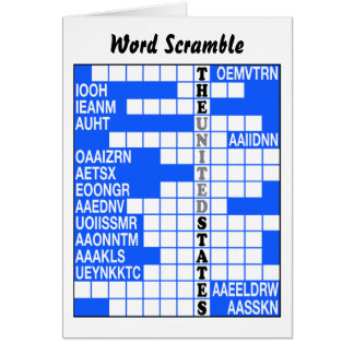 The Names of the States Word Scramble Card