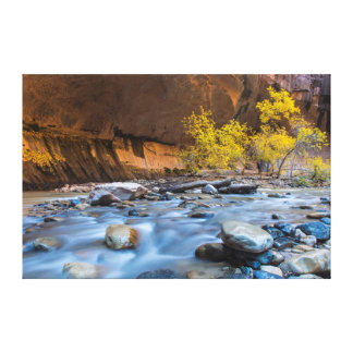 The Narrows Of The Virgin River In Autumn Stretched Canvas Print