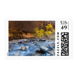 The Narrows Of The Virgin River In Autumn Postage Stamp