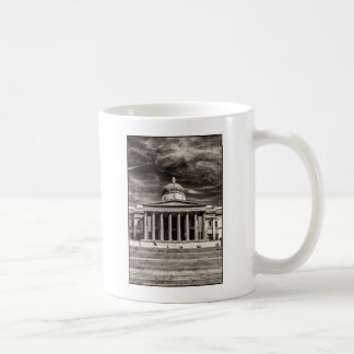 The National Gallery, London with steps - BW Coffee Mug