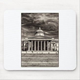 The National Gallery, London with steps - BW Mouse Pad