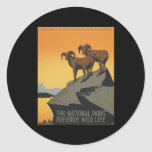 The national parks preserve wild life classic round sticker